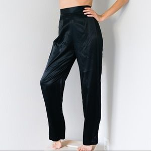 Vintage Liquid Black Satin Trousers Small 26